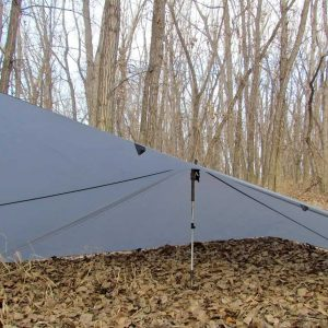 "A LiteOutdoors Lightweight Tarp pitched as a ""flying V"""